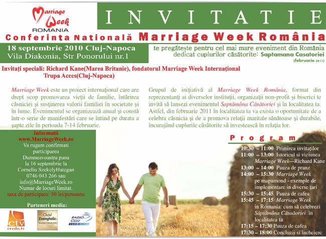 """Invitație la Conferința """"Săptămâna Căsătoriei"""""""